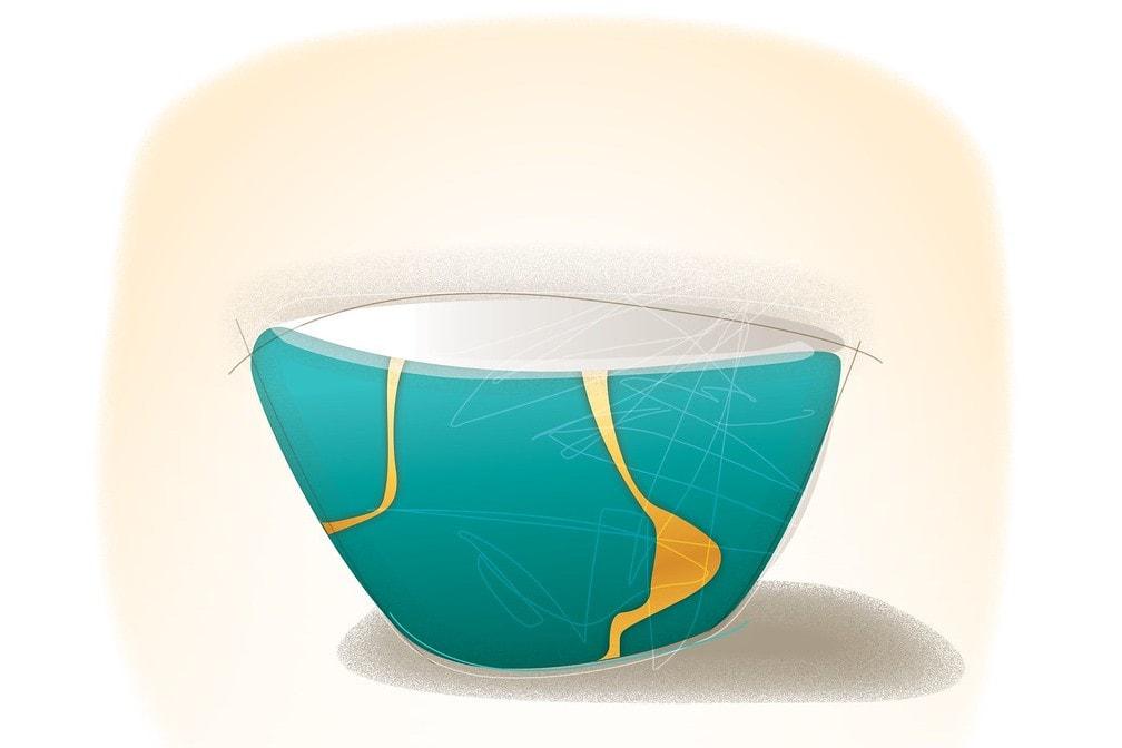 Illustration d'un bol réparé selon la tradition Kintsugi, l'art de la résilience